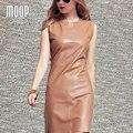 Vestido de las mujeres de piel de oveja de cuero Camel genuina Una Línea de vestidos de una sola pieza ropa mujer vestido de festa robe femme elbise LT135