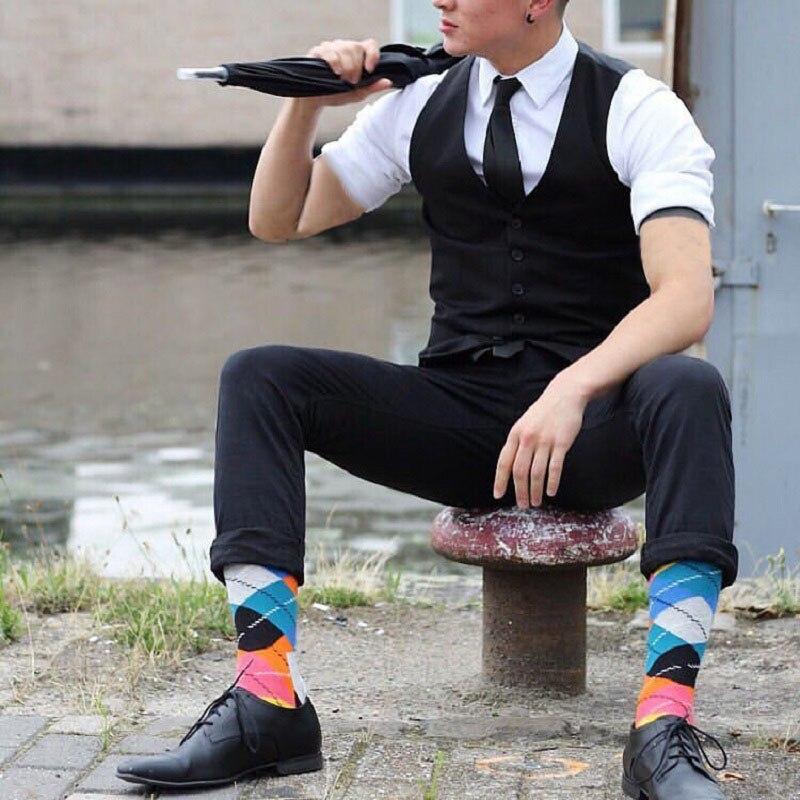 5 Pairs Classic Fashion Men Socks Daily England Harajuku Lattice Hit Colors Street Snap Gentlemen Vintage Crew Happy Socks Men