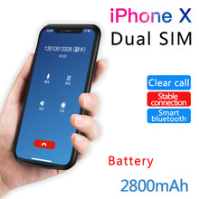 2019 For iPhone X/XS Dual SIM Dual Standby Bluetooth Adaper Rubber frame Long Standby 7days with 2500 mAh Power Bank(China)