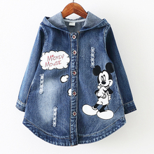 3-8Years/2016 Spring Autumn Baby Girls Jackets Kids Clothes Cartoon Denim Hooded Infant Coats Children Outerwear Clothing BC1407