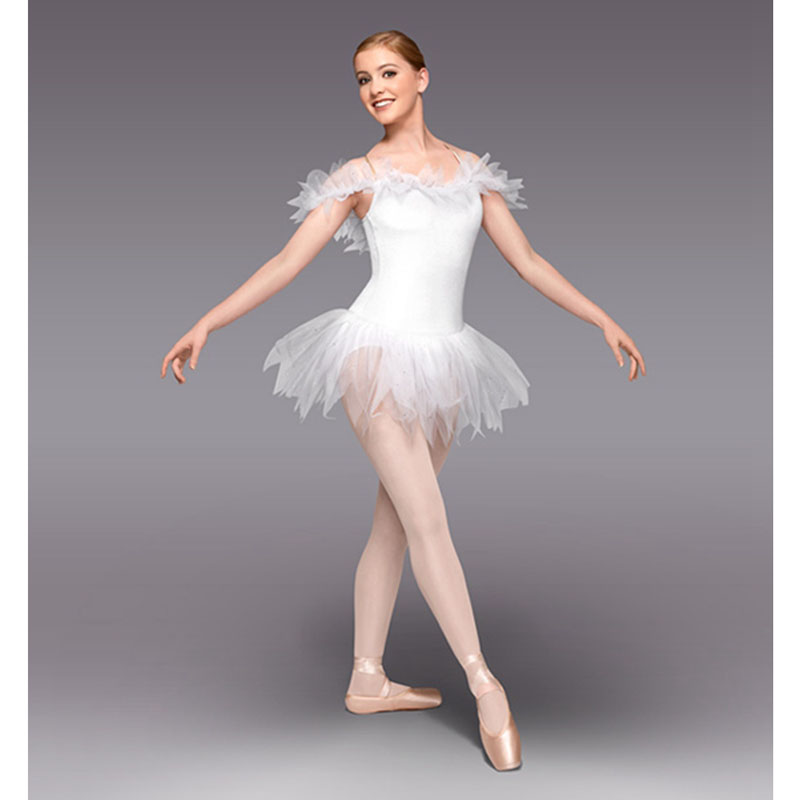Genius Ballet Dresses White Ballet Short Skirt Fairy Ballet Dress For Practice or Performance <font><b>HB875</b></font> image