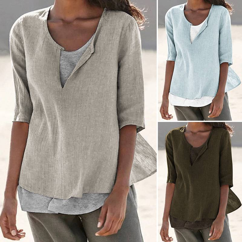 Women's   Blouse   Linen Cotton Tunic Blusas Chemiser Mujer Plus Size Causal V Neck Solid   Shirt   2019 Summer Ladies Loose Plain Tops