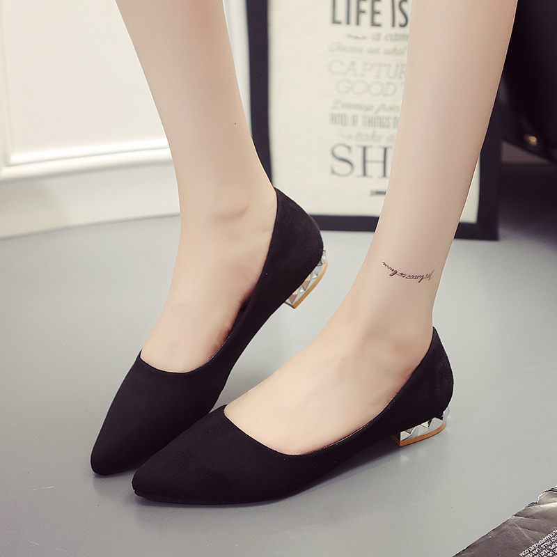 New Fashion Women Flats Suede Solid Slip On Pointed Toe Shallow Shoes For Woman Black Gray Red Plus Big Size EU 34-44 2017 new fashion flats woman spring summer women shoes top quality pointed toe women flats suede comfort flat plus size 40