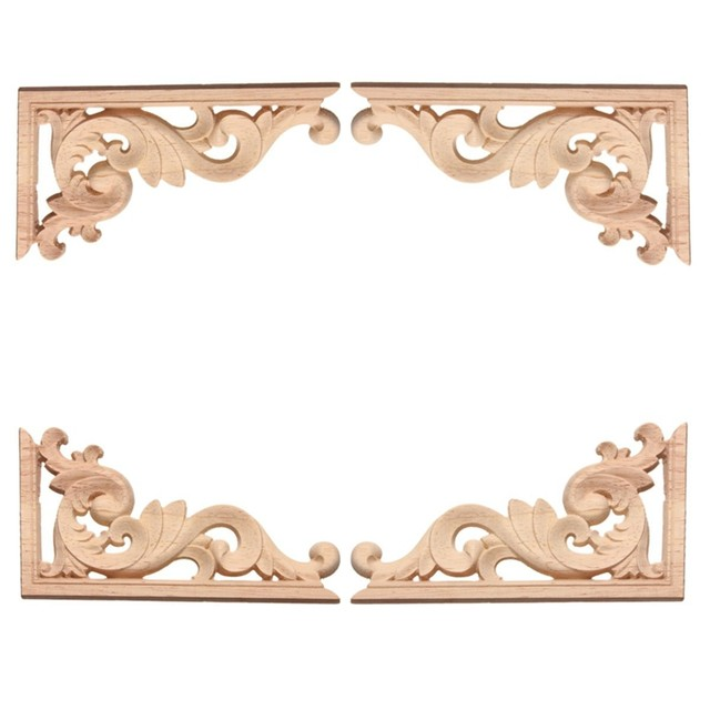 Online Shop 1pc 13*7cm Wood Carving Decal Corner Applique Frame Door ...