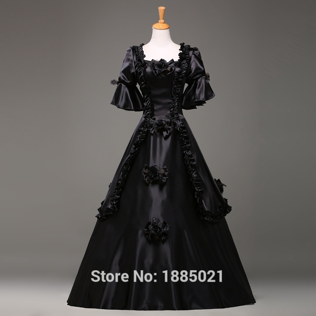 Black Princess Court Dress Marie Antoinette Medieval Victorian