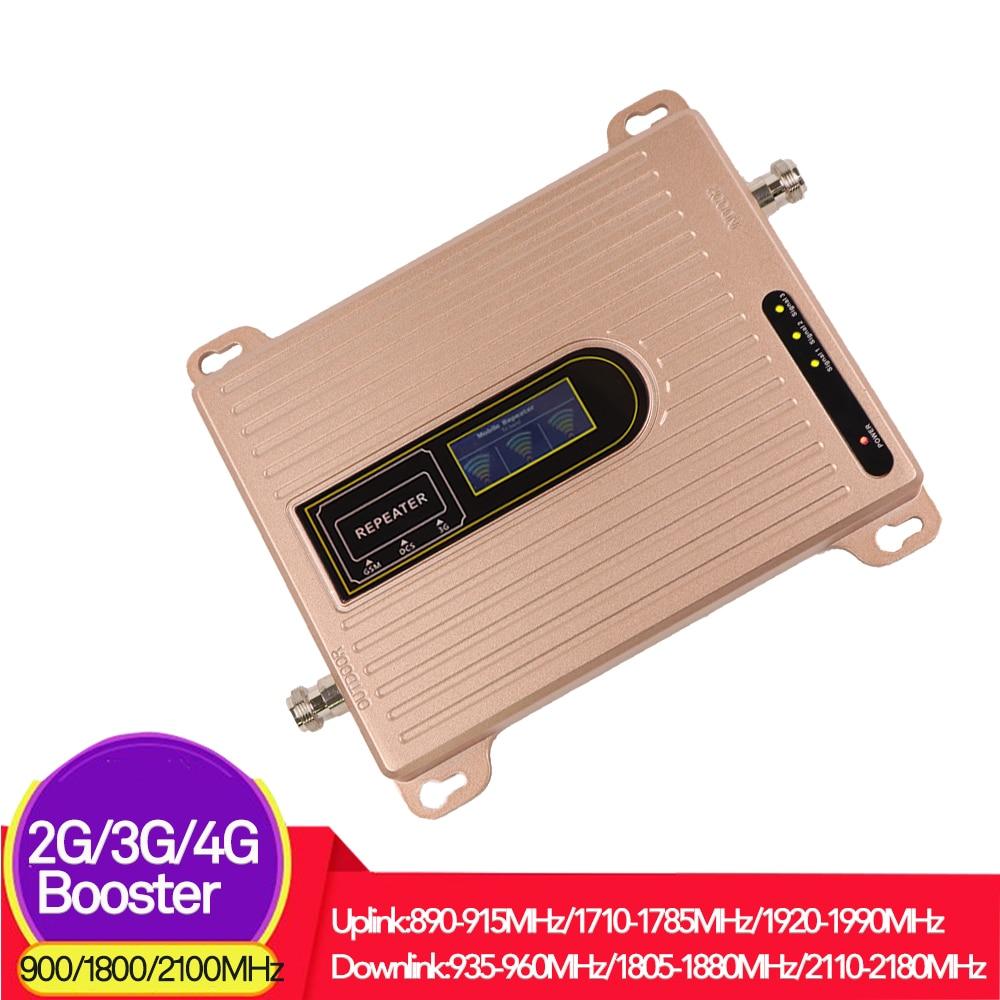 70dB 2G 3G 4G amplificateur de Signal de téléphone portable répéteur GSM WCDMA DCS Lte amplificateur cellulaire 900 1800 2100 MHz répéteur à trois bandes