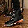 Zapatos para hombre de Ocio de Algodón Acolchado Botines Altura Aumento Interna Chukker Cilindro Corto Invierno Hombre Botas De Seguridad de Varios Colores