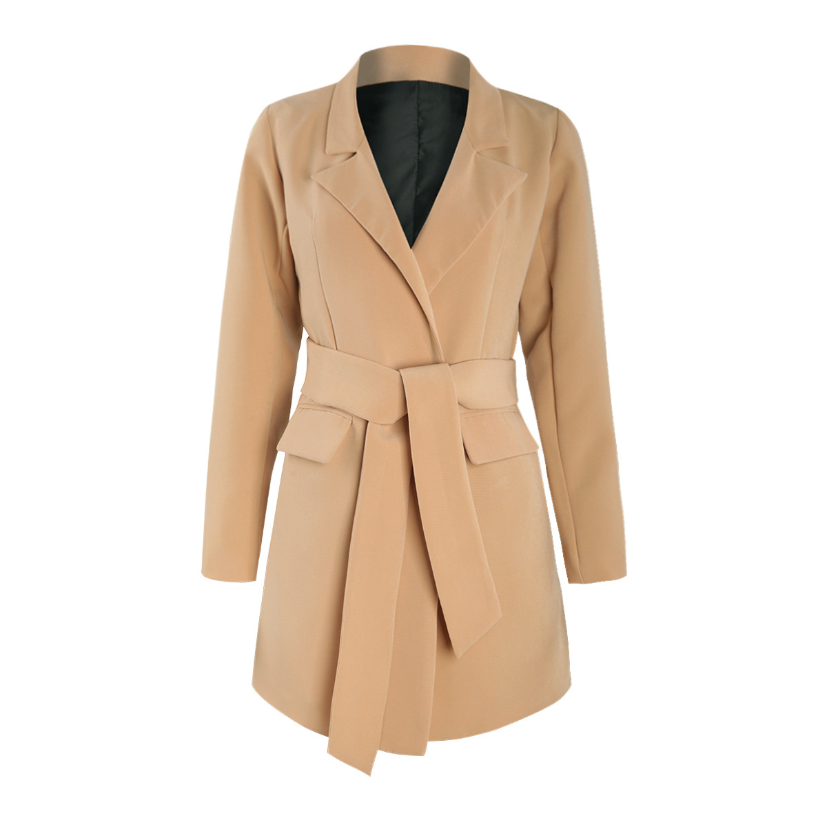 Simple Commuter Camel Color Large Necktie Pocket Belt Trim Suit And Coat 2019 Pockets Notched Women Jackets And Coats Suit