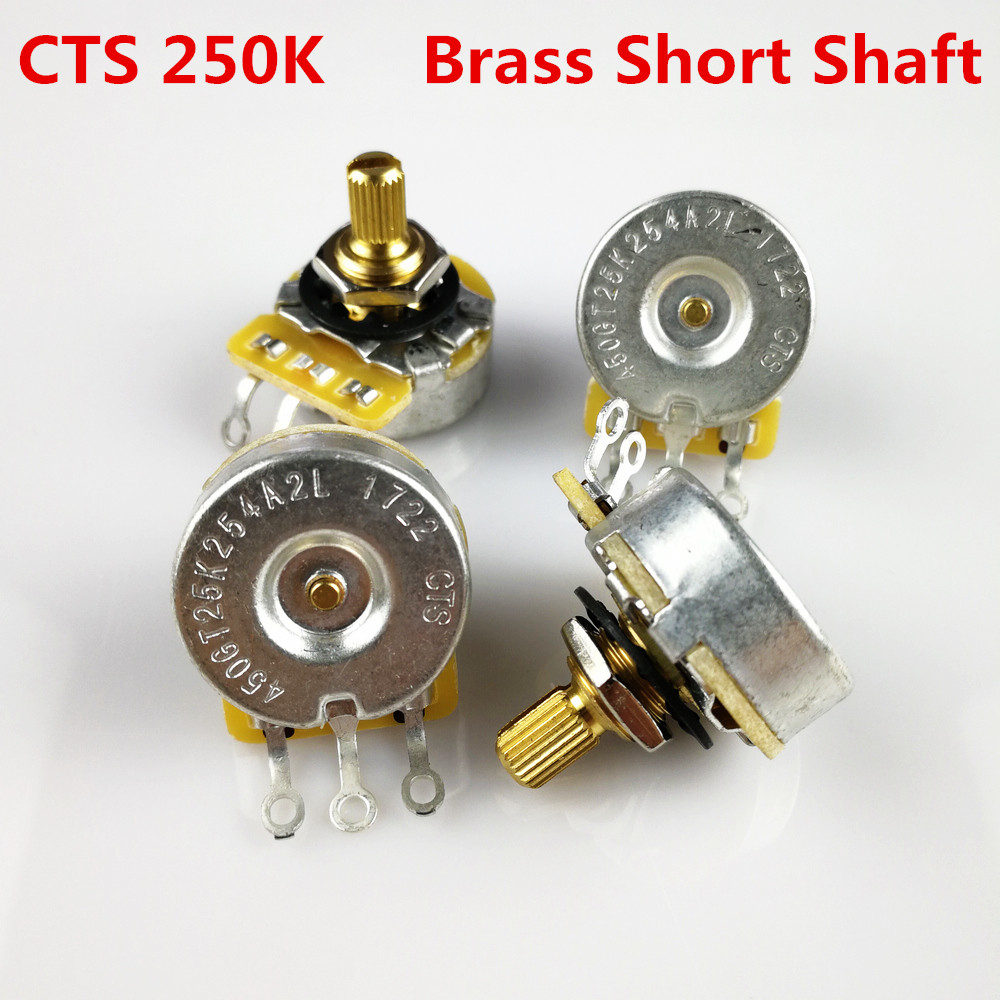 1 Piece CTS 250K Brass Short Bushing Split Shaft Big Audio Potentiometer For Electric Guitar Bass 450GT POT gold abalone metal bell guitar bass knob for 6mm split shaft 3pcs