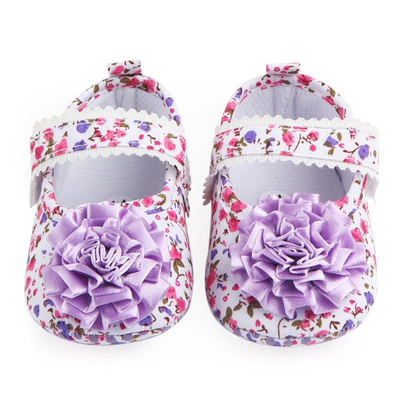 Sweet 3D Flower floral Soft Sole Infant Newborn Hook &Loop Baby Girl Shoes Princess Shoes First Walkers