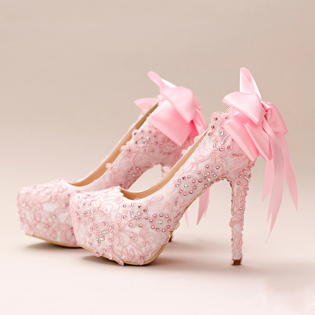 cab7534a7cb2 Women Shoes Wedding Bright Lace Fabric Silk Bow Tiny Rhinestone Girl Pumps  High heels Baby Pink Princess Birthday Gift Christmas