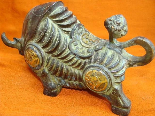 Redki stari 18C Tibeta bronasti kip teka / kip teka, najboljša - Dekor za dom - Fotografija 3
