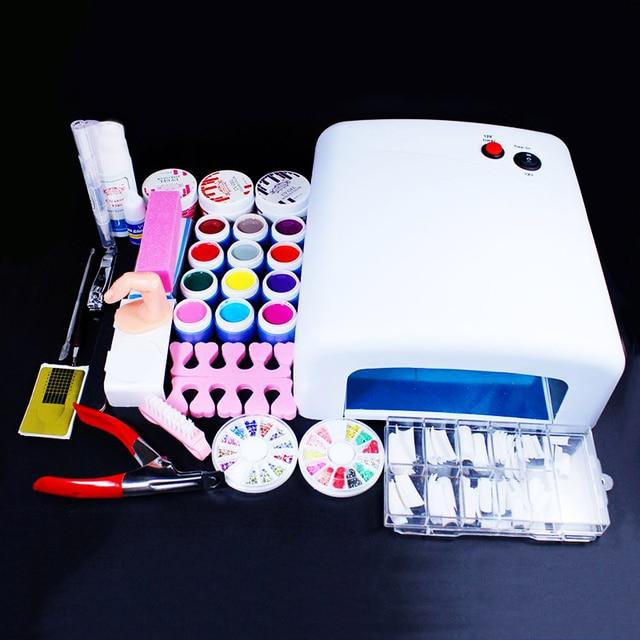 Professional Nail Art Set wholesale 36W UV GEL Lamp  12 Color UV Gel 3 builder uv gel & Nail Art DIY Tool Kits Sets