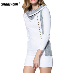 2018 Autumn Winter Women Bodycon Dresses Patchwork Long sleeves Turn-down Collar Wool Rivet Mini Casual Dress Vestidos 2