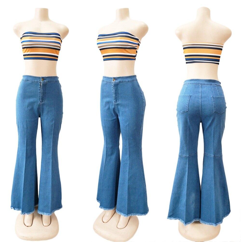 2019 nouveau pantalon slim en denim à jambe large