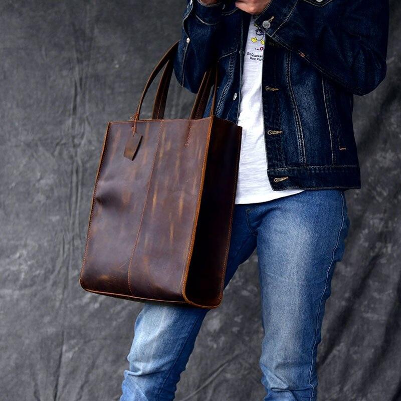 AETOO RClassic europejski i amerykański styl ręcznie robione skórzane torba na drobiazgi mężczyzn i kobiet torebka duża skórzana torba na zakupy w Torby z uchwytem od Bagaże i torby na  Grupa 2