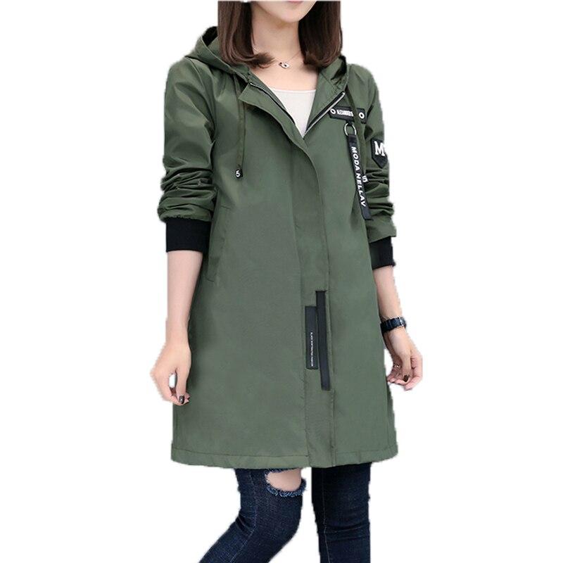 2017 Nova Primavera Outono Trench Coat Mulheres Causal Manga Comprida Com Capuz de Médio Longo Exército Verde Casaco Feminino Casaco Feminino casacos