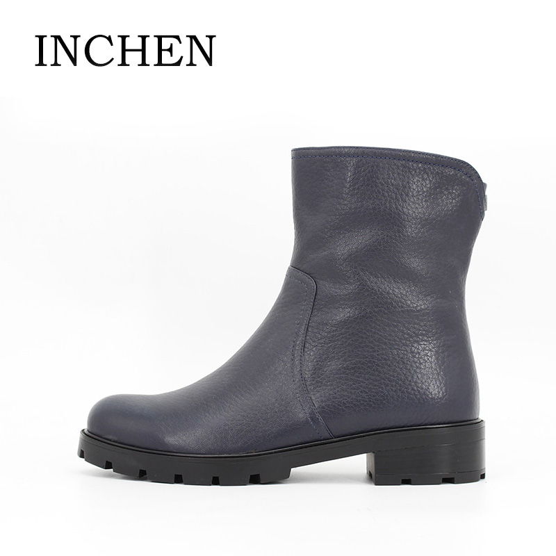 INCHEN Genuine Leather Winter Boots For Women Dark Blue Cow Leather Ankle Boots Zipper Square Heels Work Boots Shoes Women JS46 vik max adult kids dark blue leather figure skate shoes with aluminium alloy frame and stainless steel ice blade