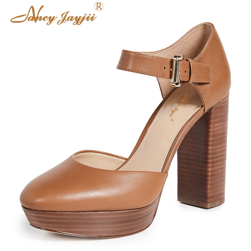 Female Shoes Woman Ladies Pupms Super High Square Heels Pointed Toe Buckle Mature Novelty -2750