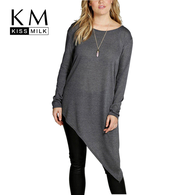 Kissmilk Plus Size Women New Fashion Big Large Size Long Sleeve Solid Gray Asymmetrical Hem Shirt Crew Neck Shirt 3XL-6XL