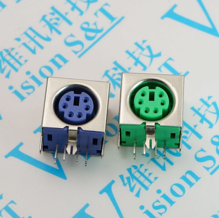 50 PCS Keyboard Socket Ps 2 Socket 6 P Violet Green Mouse Socket Full Package Six Core S Terminal 6 Core