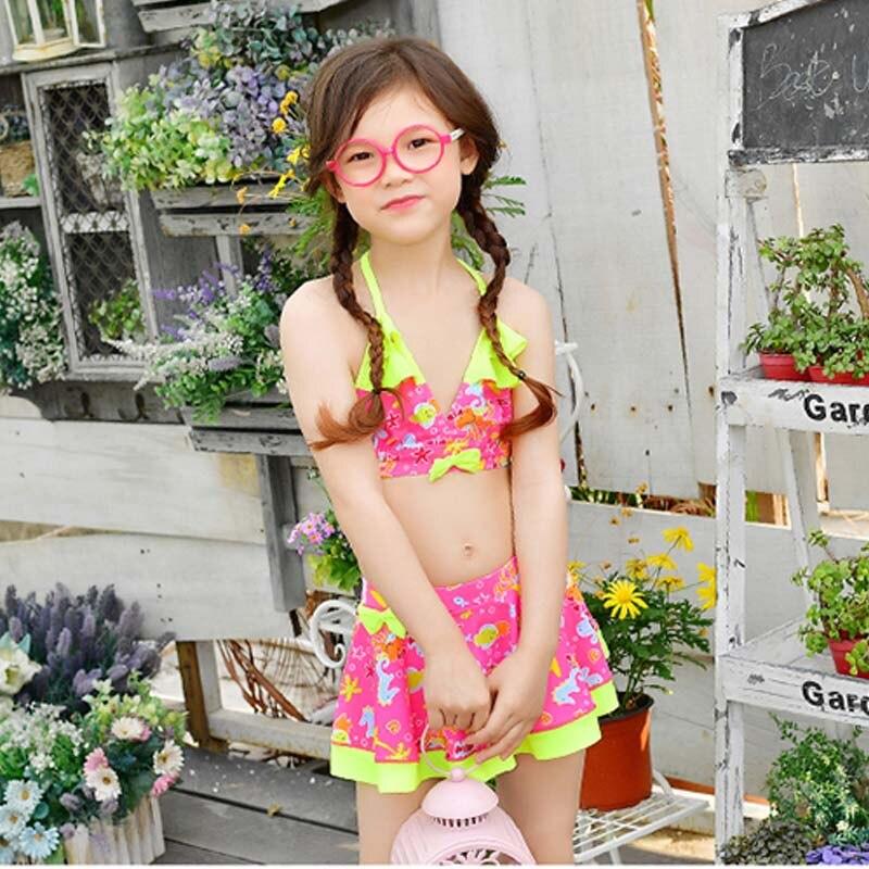 Rhyme Lady 2017 Sexy Children Swimwear Bikini Bathing suit Girls Swimsuit Push up Beachwear Kids Swim suit