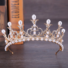 Fashion Charm White Crystal Baroque Headband Queen Crown Tiara Pearl Headwear For Women Wedding Hair Accessories Jewelry Gift