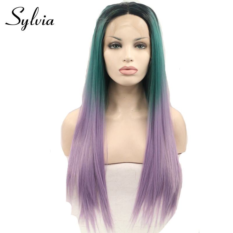 Sylvia Black Green Purple Ombre Silky Straight Heat Resistant Wigs Green to Purple Synthetic Lace Front
