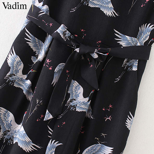 f0969d17ac4 Vadim women cute crane print jumpsuit sashes pockets sleeveless pleated  rompers ladies vintage casual jumpsuits KZ1016