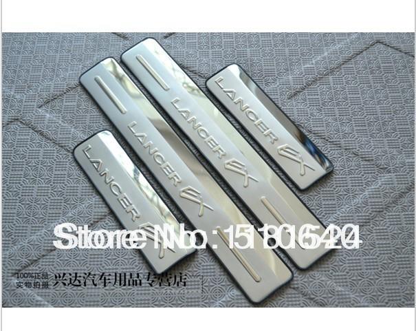 O envio gratuito de Aço Inoxidável Porta Lateral Sill Threshold Placa Scuff Para Mitsubishi Lancer 2008-2013 FRT7