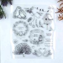 Животных скрапбукинга штампы прозрачный сова, птицы, лебедь, павлин печати скрапбукинга аксессуары
