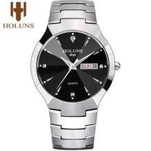 Мужские часы 2020 Holuns Tungsten Steel мужские часы кварцевые брендовые Роскошные повседневные мужские наручные часы с бриллиантами водонепроницаемые