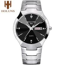 Holuns Reloj de acero de tungsteno para hombre, reloj Masculino de pulsera de marca Quartz, de lujo, informal, con diamantes, resistente al agua, 2020