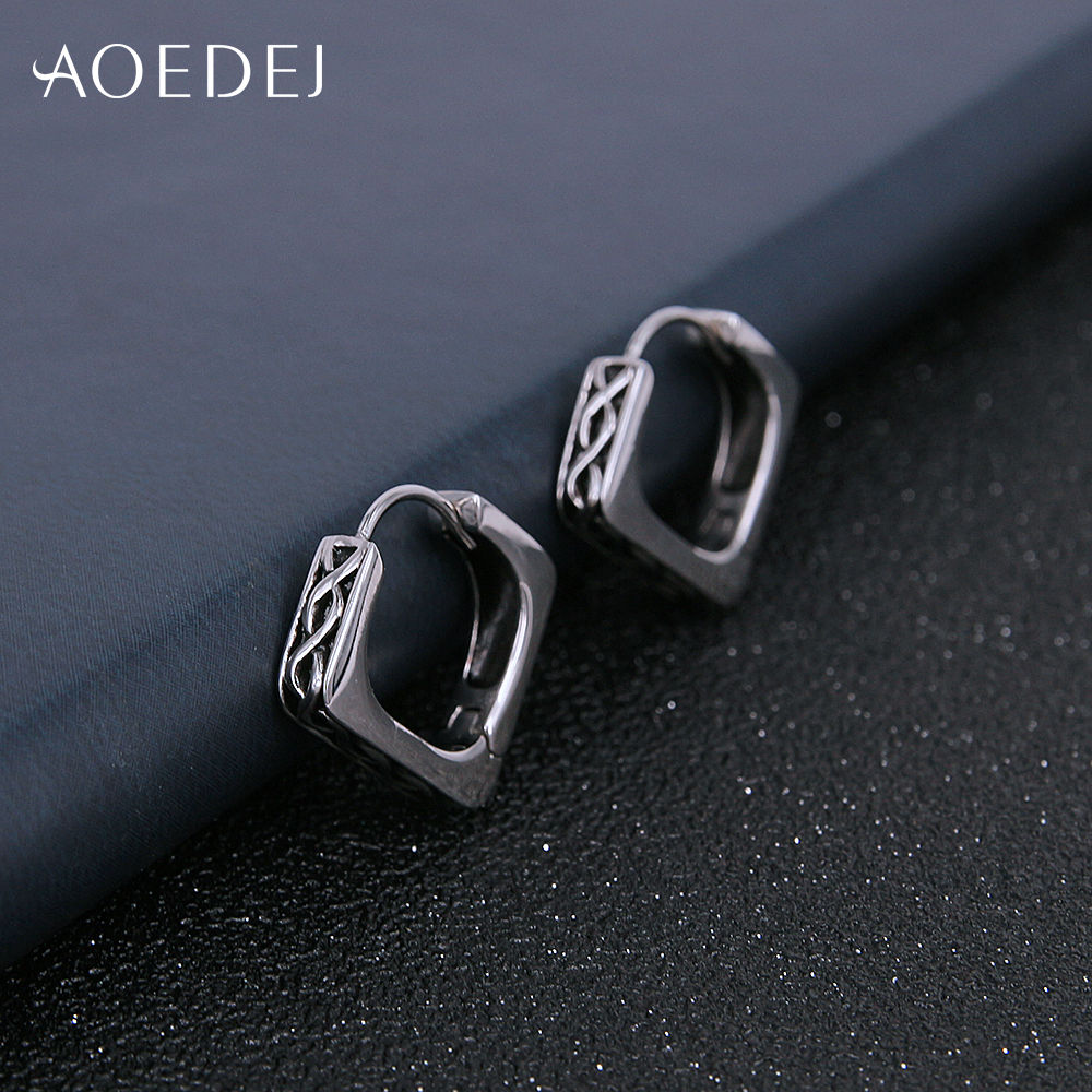 Aoedej Black Huggies Small Hoop Earrings For Men Stainless Steel Punk Circle Mens Penntes Acero Inoxidable Mujer In From Jewelry