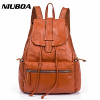 100 Genuine Cowhide Leather Backpack Women S Backpacks Brief Casual Black Leather Designer Women Backpack Female