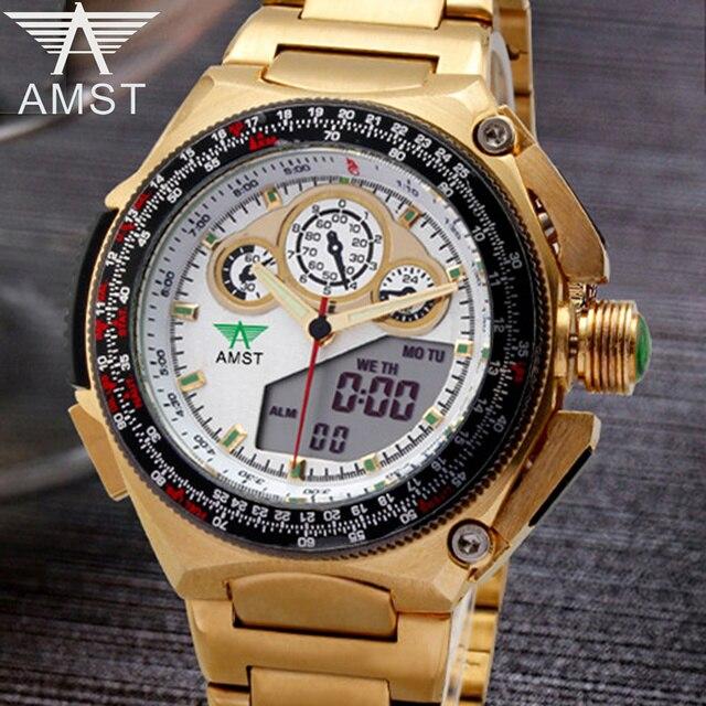 AMST Watch Men Luxury Brand Full Steel Military Quartz-Watch Fashion Gold LED Digital Sport Wristwatch Relogio Masculino Clock amst 606