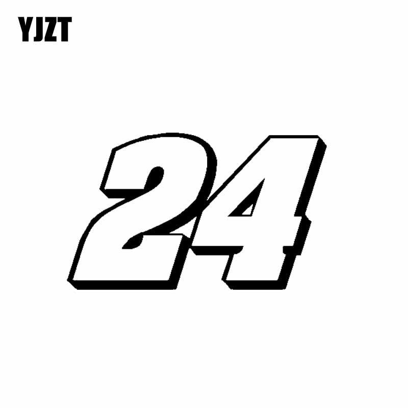 Yjzt 16 cm * 9.6 cm interessante número 24 decoração carro-estilo etiqueta do carro decalque vinil C11-0863
