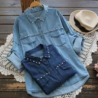 Beads Denim Shirt For Women Long Sleeve Pearl Blouse Woman Tops Casual Outwear
