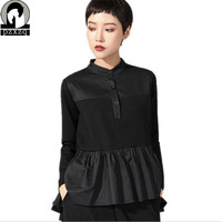 Special womens T shirt Spring new long sleeved stitching slim swallowtail top female Black Casual T Shirt Long Sleeve Tees Tops