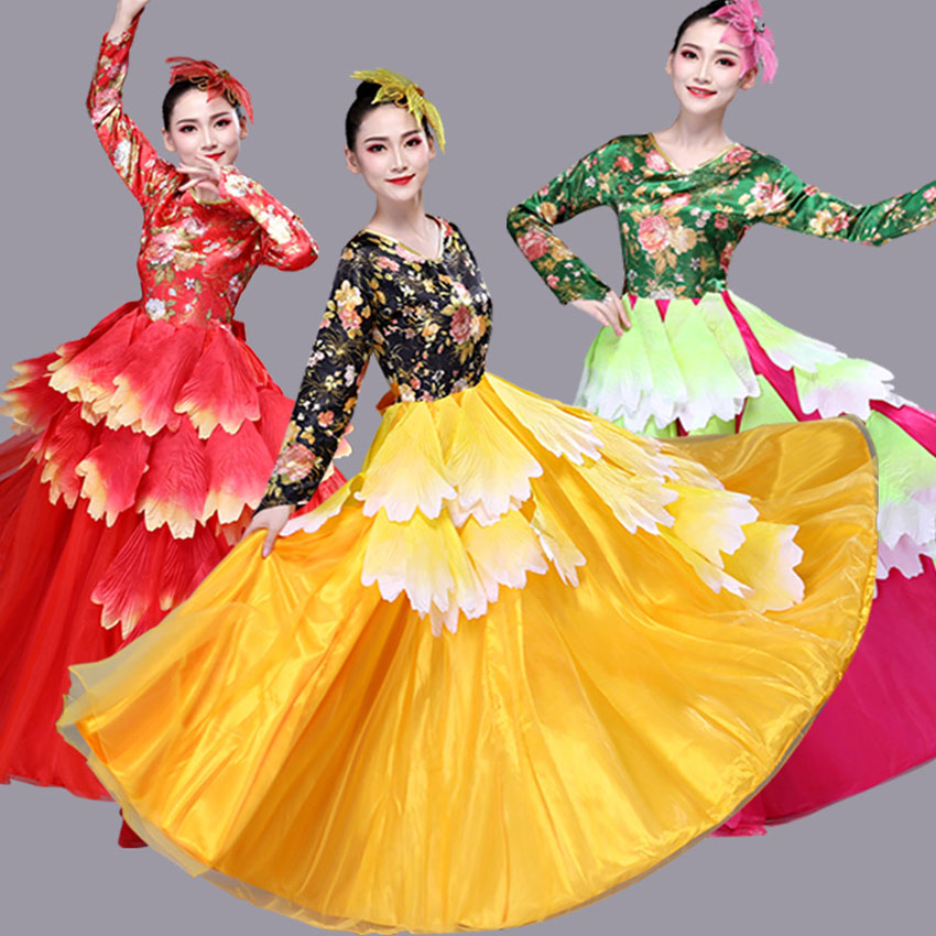 Gypsy Style Woman Big Swing Plus Size Spanish Flamenco Dress Floral Printing Ballroom Luxury Dance Costunes Party Wear