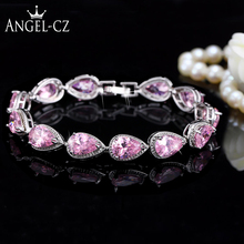 ANGELCZ Sweety Girls Pink Cubic Zirconia Stone Sterling Silver 925 Bracelets Bangles For Women Friendship Jewelry Gift AB004