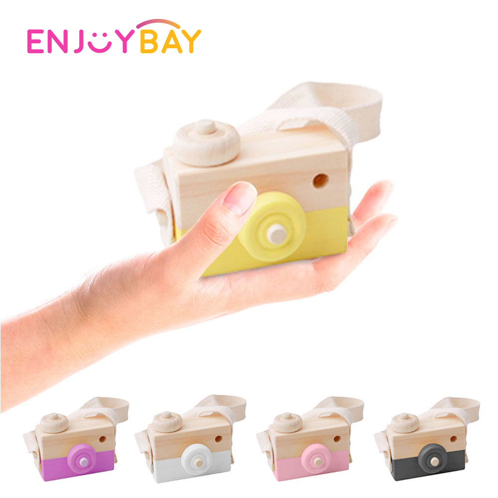 Enjoybay Cute Wooden Camera Toys Kids Hanging Camera Photography Decorations Educational Toy For Baby Birthday Christmas Gifts