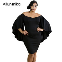 Ailunsnika 2017 Autumn Black White Plus Sizes XXXL Sexy Butterfly Sleeves Women Bodycon Mini Dresses Slash