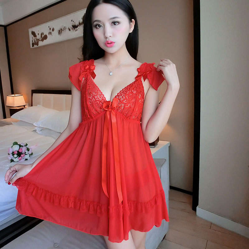 Night Dress Women Nightshirt Camisola De Dormir Hot Sleep Dress Chiffon Dress 1184