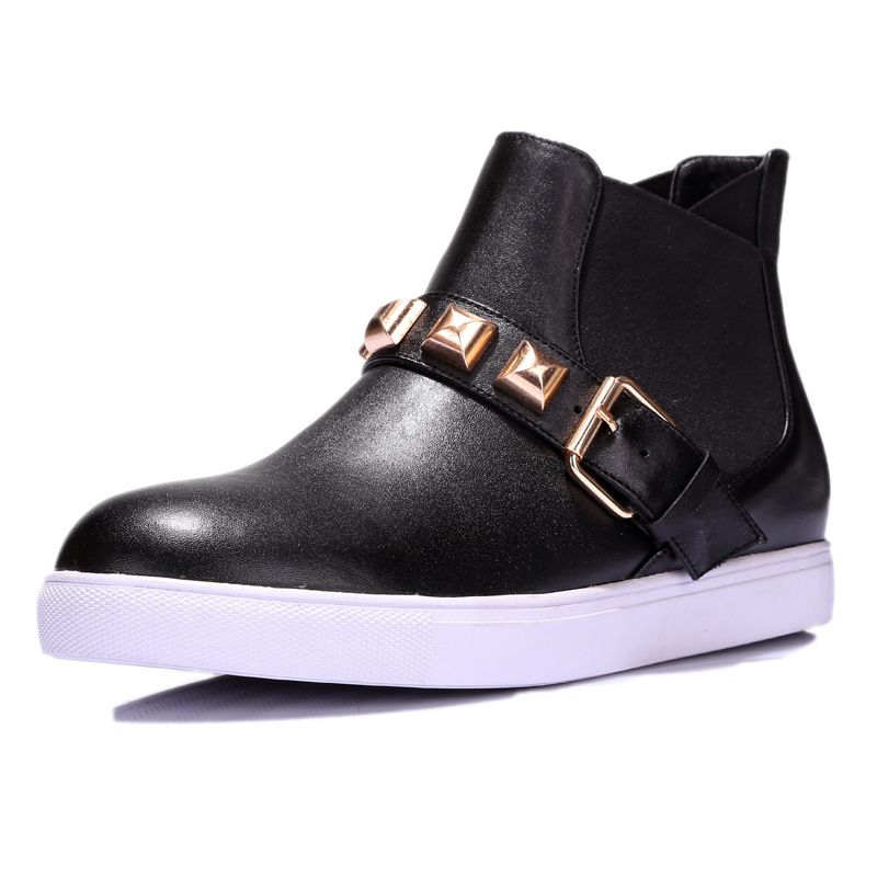 Europe and America Autumn Winter Women Genuine Leather Flats Chunky Heel Buckle Fashion Ankle Martin Boots Size 34-39 SXQ0811 europe america style spring autumn women genuine leather thin high heel lace up low cut fashion denim shoes size 34 41 sxq0709
