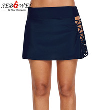 SEBOWEL New Beaded Crisscross Aside Swim Skirt Swimwear Wome