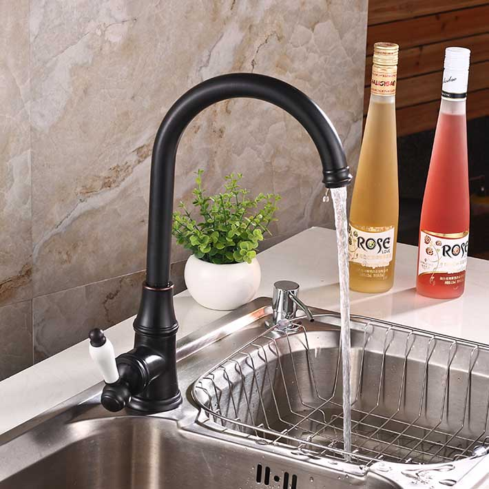 kitchen faucet antique black  brass hot and cold water mixer kitchen faucet sink mixer tap wash basin faucet oil rubbed bronze