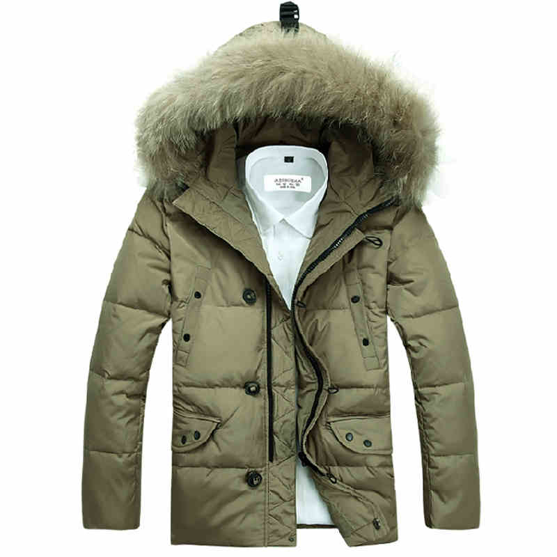 2015 New Casual Hooded Winter Coat Men Thick Warm Windproof Jacket Men Winter Good Quality With Big Fur Collar Down Jacket