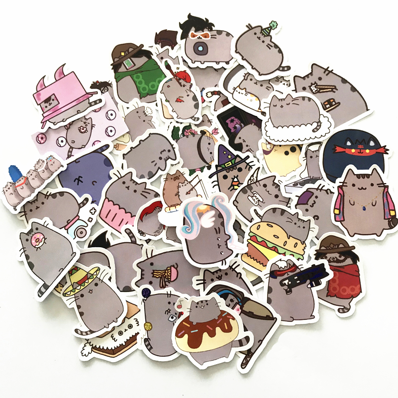 Image 2 - TD ZW 2019 100Pcs Cartoon Cat Stickers Decal For Snowboard Laptop Luggage Car Fridge DIY Styling Vinyl Home Decor Pegatina-in Stickers from Toys & Hobbies