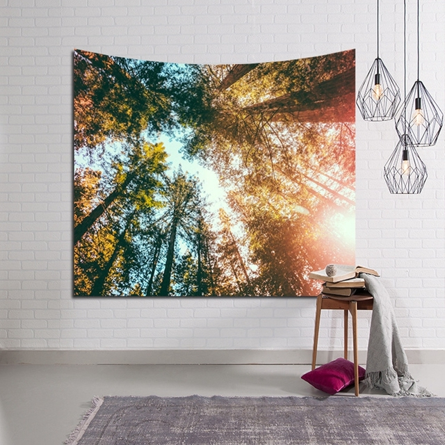 Forest Tapestry Red Maple Leaves Printed Rectangle Beach Towels Yoga Mat Table Cloth Wall Hanging Rugs Home Decor Blankets